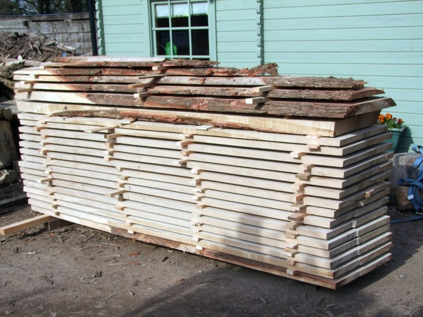 The shorter one of the resulting stacks of sawn timber. The other stack is 20' long.